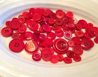 Four Hole Buttons - 100 assorted red 4 hole buttons