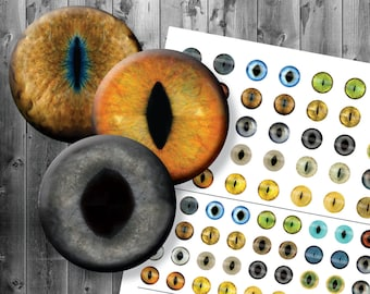 Realistic Cat Eyes - Digital Collage Sheet - Printable Cat Eyes - 12mm 14mm 16mm Included - Multiple Sizes