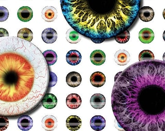10mm Eyes Printout Collage Sheet of 42 Designs for Cabochon and Jewelry Making or Scrapbooking