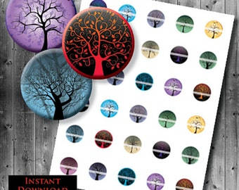 Tree of Life Images - 25mm Circles - Digital Collage Sheet - 1 inch Images - Tree of Life Collage Sheet - Scary Tree - Spooky Trees