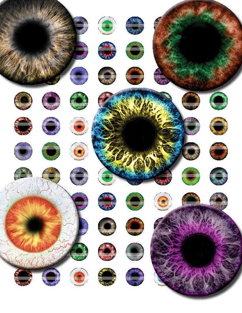 8mm E 6mm Occhi Stampa Foglio Collage Di 42 Disegni Per Etsy