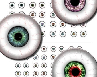 8mm 7mm 6mm 5mm and 4mm Eye Whites Printout Collage Sheet of 11 Designs for Cabochon and Jewelry Making or Scrapbooking