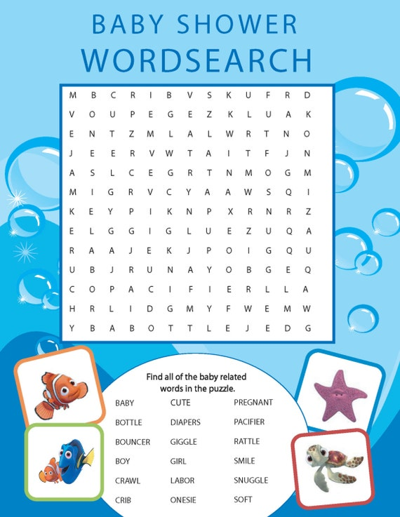 Printable Finding Nemo Themed Baby Shower Word Search Etsy