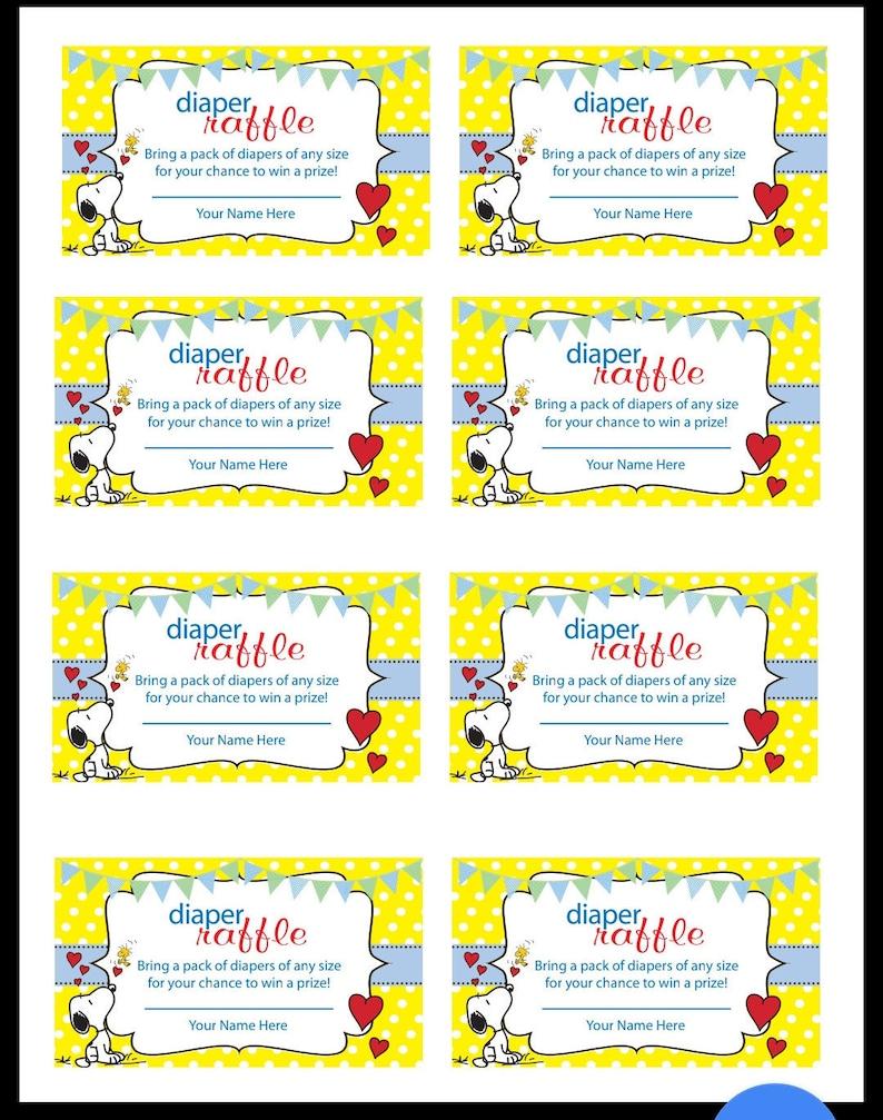 image regarding Printable Diaper Raffle Tickets known as Snoopy Printable diaper raffle ticket