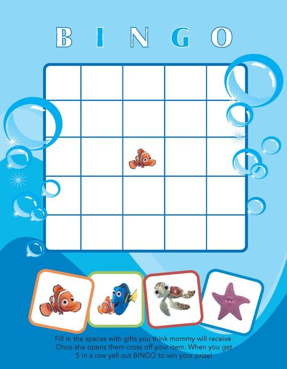 Printable Finding Nemo Themed Baby Shower Bingo Etsy