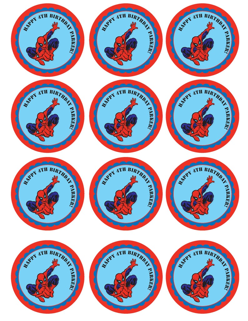 photograph about Spiderman Printable called Spiderman Printable Cupcake Toppers or Tags