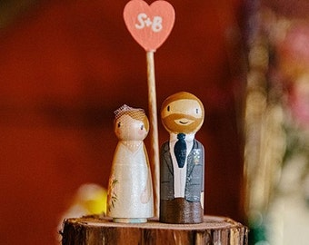 Tree Slice Cake Topper - bride and groom rustic slice topper - morning suit groom cake topper - tree slice cake topper with initial heart