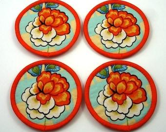 Fabric Coasters, Flower Coasters, Gorgeous Coasters, Pretty Coasters, Cloth Coasters - Orange, White and Pale Aqua Cotton (Set of Four)