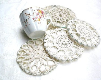 Shabby Chic Coasters, Crochet  Lace  Coasters , Table  Decor, Crochet Set, Home Decoration, Coffee Tea Coasters, Glass  Vintage Coasters