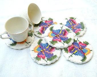 Shabby chic coasters, Crochet  Lace Coasters,  Embroidery Coasters, Drink Coasters, Set Coasters, Tee Coffee Coarters, Table Vintage Decor