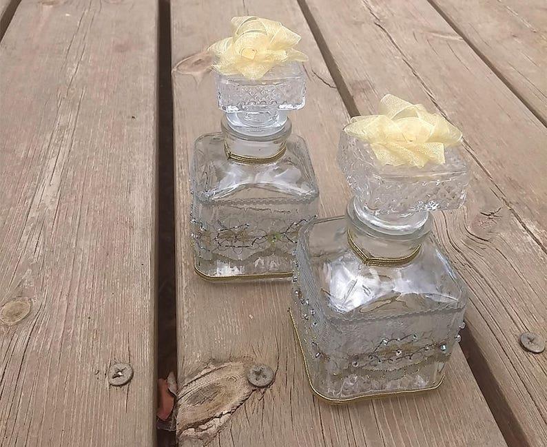 Square Bottle Vtg Style Bottle Vintage Wedding Style Vintage Wedding Decor Decorative Bottle Laced Glass Bottle Shabby Chic Decor