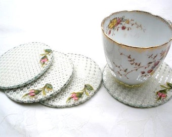 Shabby chic coasters ,Home Decor, Lace  Coaster set, Country French decor, Party tea set, Shabby chic coasters, Embroidery roses.