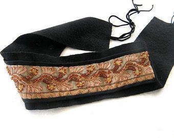 Boho Embroidery Belt, Gift idea , Shabby chic  belt, Vintage belt embroidery style, Felted belt , Casual belt,  Oak unique belt,