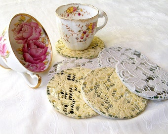 Shabby Chic Coasters, Crochet  Lace Coasters Set, Table Decor,  Tea Party Decor,  Crochet Coasters, Mirror Coasters, Round Coffee Coasters.