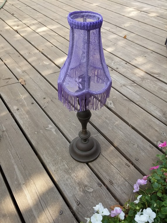 All colors you love Shabby Chic Purple Lamp Shade,Free shipping, Lace Table Lighting, Fringes Lamp, French Decor, Vintage Room Lighting