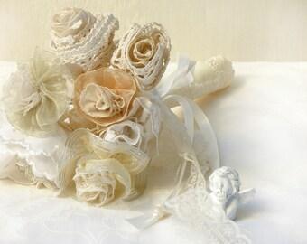 Wedding Bouquet, Ivory Wedding, Lace Flower Bouquet, Wedding Accessories Bride, Country Wedding, Bridesmaids gift, Crochet Flower Bouquet