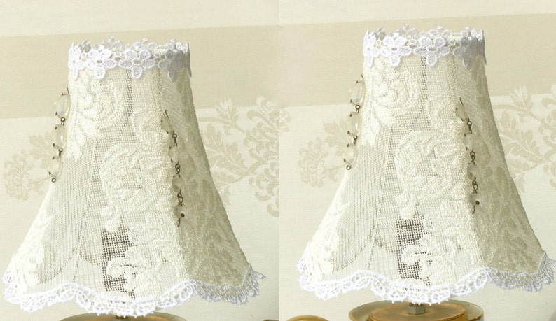 Coppia crema vintage pizzo paralume lampade shabby chic etsy