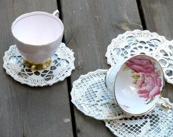 Set Coasters, Home decor, Vintage Coasters. Shabby Chic Coasters, Tee Coffee Coasters, Lace Crochet Coasters, Tea Party Decor, Glass Coaster
