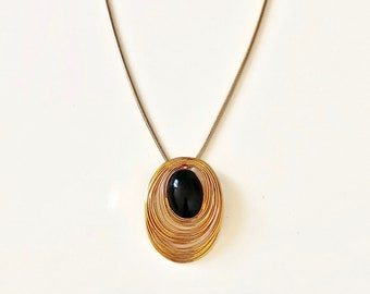 Vintage necklace BLACK OVAL and gold outlines long chain