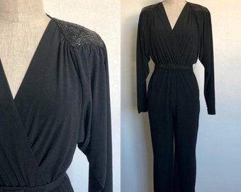 57be3122603b Vintage 1970 s high waisted jumpsuit SEQUIN SHOULDER black belted pantsuit  - S