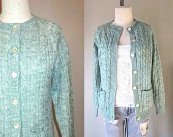 Vintage 1970's boho cardigan PISTACHIO GREEN cable knit sweater - S/M