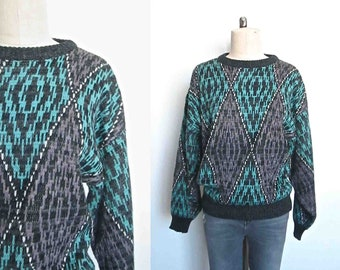 Vintage 1980's sweater DIAMOND PATTERN turquoise and gray - M