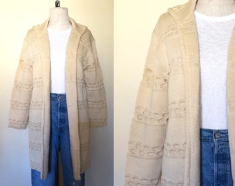 Vintage 1960's sweater TAN WOOL CARDIGAN honeycomb textured extra long - M/L