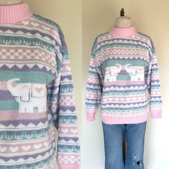 Vintage 1980's sweater PINK ELEPHANTS and hearts s