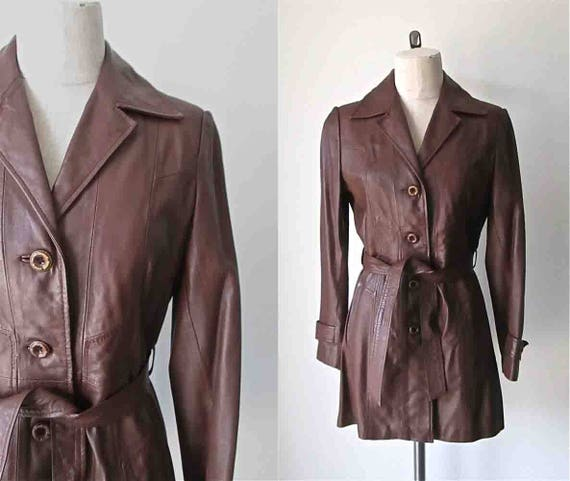Vintage 1970's leather trench CHOCOLATE BROWN coat