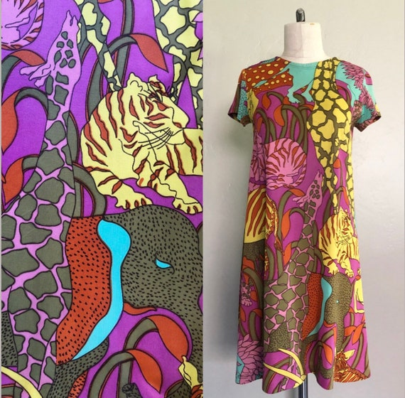 Vintage 1960's dress PSYCHEDELIC ZOO retro print s