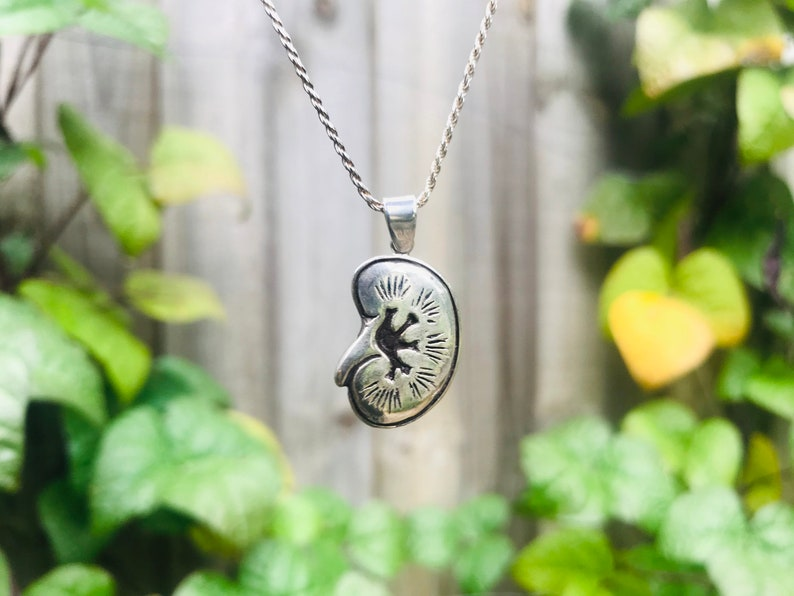 Kidney Necklace \u2014 beautifully detailed anatomical jewelry in cast sterling silver by medical artist Beth Croce