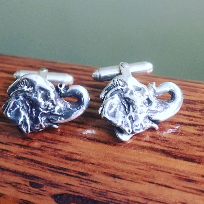 Lucky Elephant Cufflinks in Solid Sterling Silver