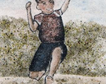 Jump, no. 2, original sand painting  5x7 sand art childhood beach play running jumping boy child portrait playing joy boyhood
