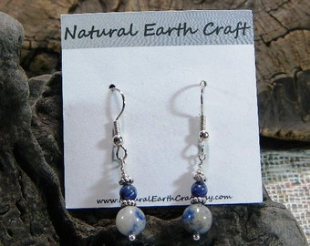 Blue sodalite earrings semiprecious stone jewelry packaged in a colorful gift bag 2392 A B