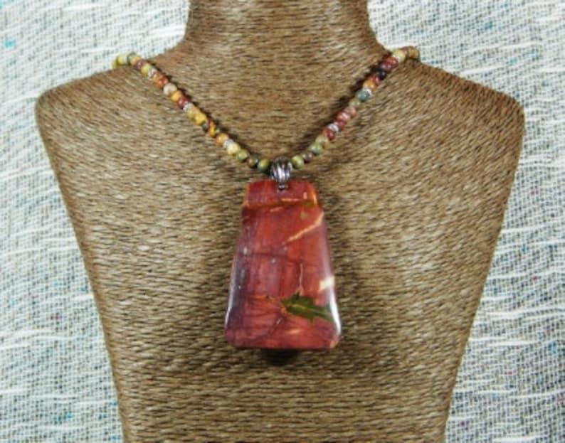 Red purple Mookaite jasper pendant necklace 20 long multicolor picasso jasper semiprecious stone jewelry  in a colorful gift bag 10232