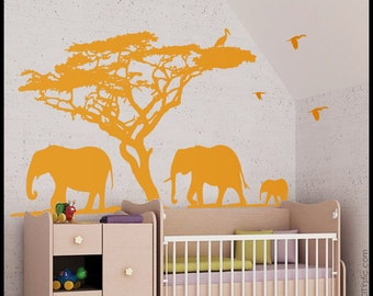 Elephant Wall Decal : Huge Elephant family in an African scene with tree and birds, ideal for kids bedroom