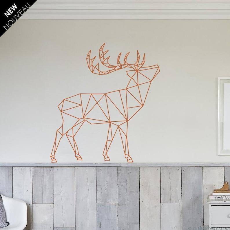 polygonal deer wall decal / deer decal / polygon deer / | etsy