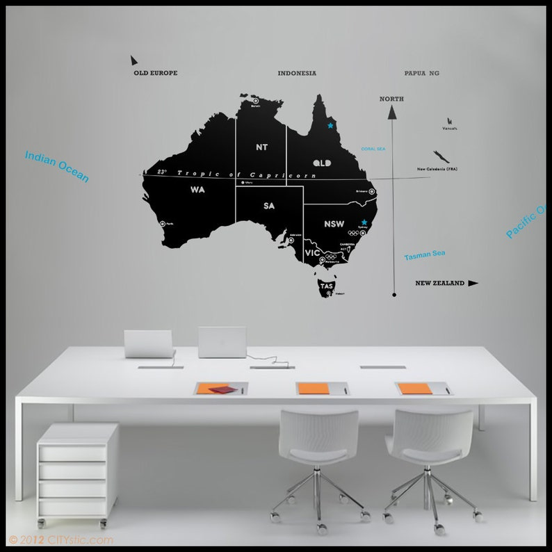 australia map wall decal : map of all australia with major | etsy