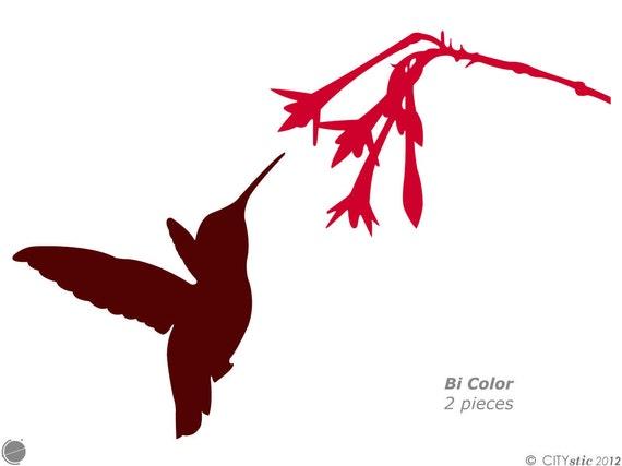 WHITE Vinyl Decal Hummingbird with flower bird fly fun sticker nector cute
