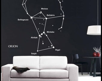 ASTRONOMY WALL DECAL : Orion Constellation sticker with main star names and bow. Star sticker, kid's bedroom decor