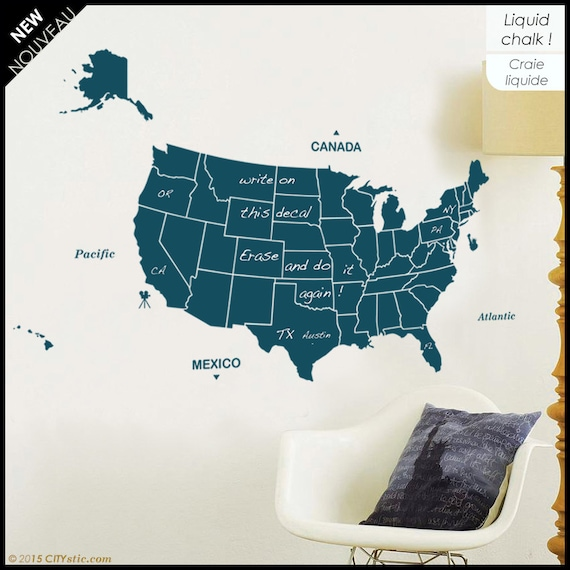 USA Writable Map with 50 states, Washington capital, Oceans. Liquid chalk  pen. Alaska + Hawaii. Map decor