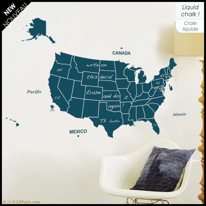 USA Writable Map with 50 states Washington capital Oceans. | Etsy on