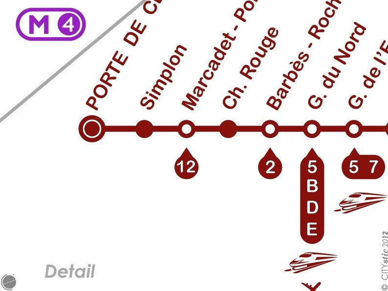 Ch\u00e2telet Montparnasse Odeon Town center with stations and connections PARIS WALL DECAL : North-South Line 4 of the Parisian Subway