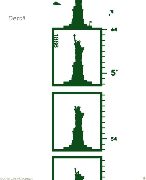 Diagramm-Höhe-Aufkleber Freiheitsstatue in Füßen oder Cm   Etsy