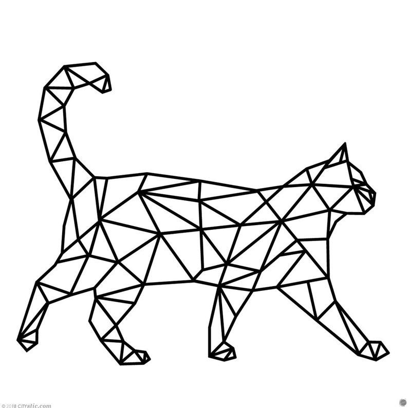 Polygonal Cat Wall Decal Walking Cat Decal Polygon Cat