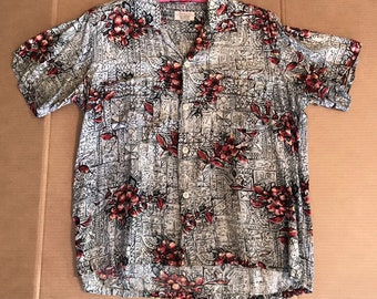 482d56dcc Vintage 50s Hawaiian Shirt Penneys Silky Rayon Tiki Floral M Mens Loop  Collar