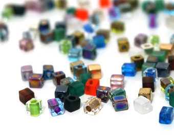 color mix / glass cube bead mix / 4mm square Miyuki cubes/ colorful variety /  200 beads, 992SB