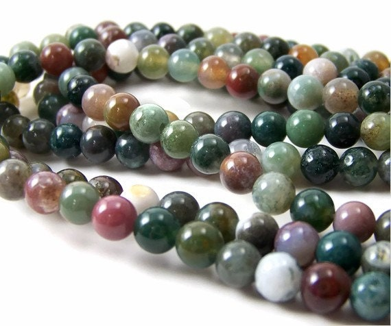Fancy Jasper Faceted Round Beads 8mm Mixed 44 Pcs Gemstones Jewellery Making