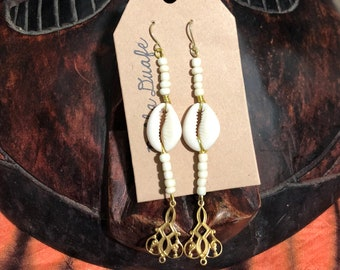 Beaded Cowrie Shell and Brass Earrings