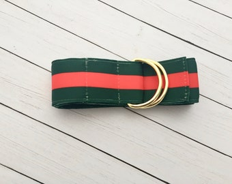Women s Green and Red Striped Ribbon Belt   Silver D-Rings   1.5